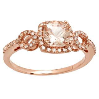 10k Rose Gold 1 1/6ct TGW Cushion Morganite and Round White Diamond Bridal Engagement Ring (I-J, I2-I3)