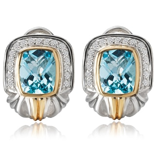 Avanti Palladium Silver and 18K Yelow Gold Blue Topaz and White Sapphire Omega Back Earrings