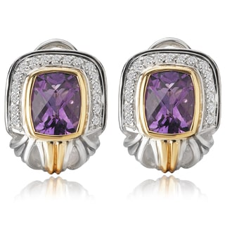 Avanti Palladium Silver and 18K Yellow Gold Amethyst and White Sapphire Omega Back Earrings