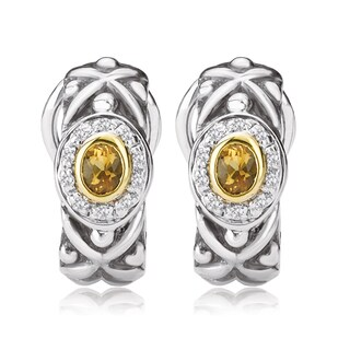 Avanti Sterling Silver and 14K Yellow Gold Citrine and Diamond Omega Back Earrings