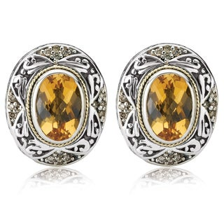 Avanti Sterling Silver and 18K Yellow Gold Oval Citrine and Brown Diamond Accent Omega Earrings