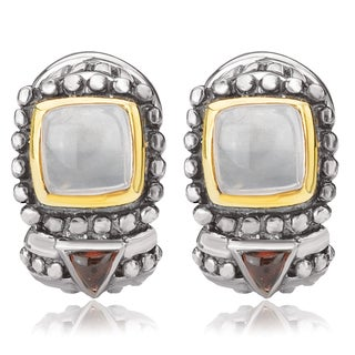 Avanti Sterling Silver and 14K Yellow Gold Cushion Rose Quartz and Trillion Garnet Cabochon Omega Clip Earrings