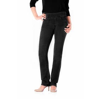 Bluberry Women's Leah Jet-black Denim Straight-leg Pants