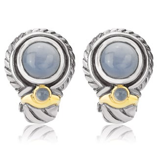 Avanti Sterling Silver and 14K Yellow Gold Oval Chalcedony Cabochon Omega Clip Earrings