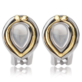 Avanti Sterling Silver and 14K Yellow Gold Pear Shape Rose Quartz Cabochon Omega Clip Earrings