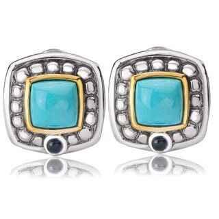Avanti Sterling Silver and 14K Yellow Gold Turquoise and Iolite Cabochon Button Omega Clip Earrings
