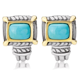 Avanti Sterling Silver and 14K Yellow Gold Turquoise Cabochon Omega Clip Earrings