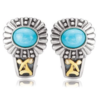 Avanti Sterling Silver and 14K Yellow Gold Oval Turquoise Cabochon Omega Clip Earrings