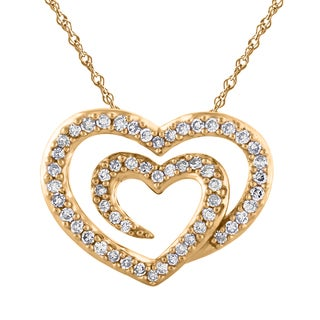 14K Yellow Gold 1/4ct TDW Double Heart Diamond Pendant