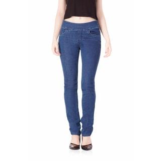 Bluberry Women's Kiara Dark Blue Enzyme Wash Slim Leg Denim Jeans