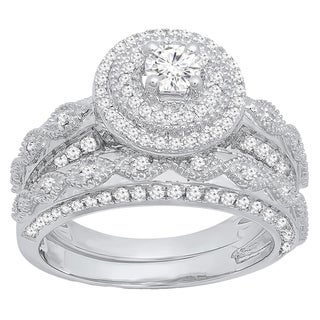 14k Gold 7/8ct TDW Round-cut Diamond Halo Split Shank Bridal Set