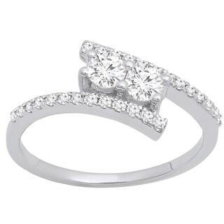 10k Gold 1/4ct TDW Round Diamond 2-stone Bypass Style Bridal Engagement Ring