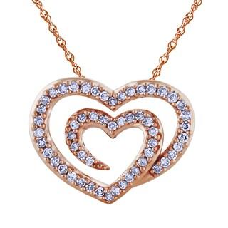 14K Rose Gold 1/4ct TDW Diamond Double Heart Pendant