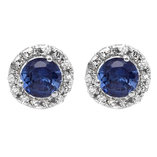 10k White Gold 1/3ct TGW Round Blue Sapphire and White Diamond Halo Stud Earrings (I-J, I2-I3)
