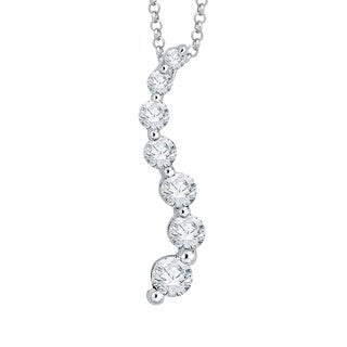 14K White Gold 1/4ct TDW Diamond Journey Pendant with Cable Chain