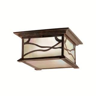 Kichler Lighting Morris Collection 2-light Distressed Copper Outdoor Flush Mount