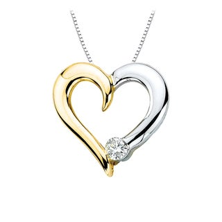 14K Two-Tone Gold 1/10ct TDW Diamond Heart Pendant with Cable Chain