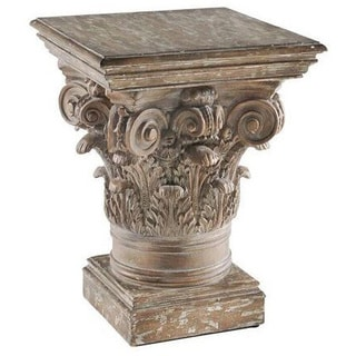 Distressed Brown Greek Column Side Table