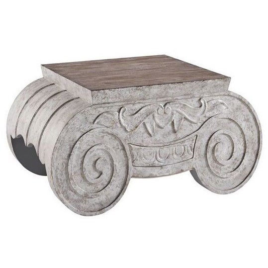 Greek Scrollwork Distressed Brown Tail Table