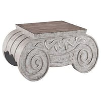 Greek Scrollwork Distressed Brown Cocktail Table