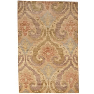 Herat Oriental Indo Hand-knotted Vegetable Dye Ikat Wool Rug (4'1 x 6'2)