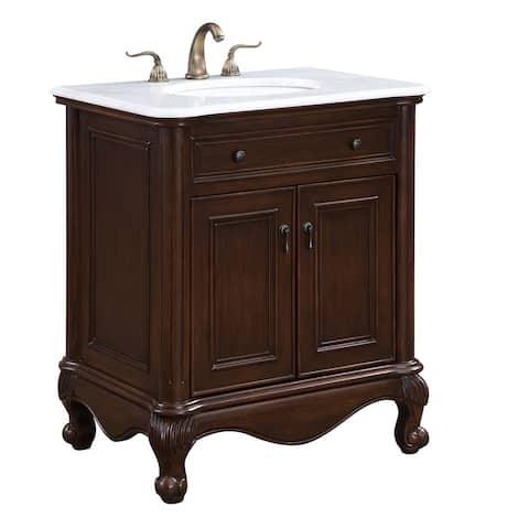 Somette Teak 30-inch Lexie Single Bathroom Vanity Set