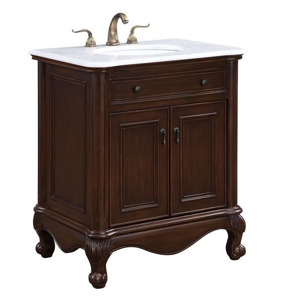 "Somette 30"" Lexie Single Bathroom Vanity Set in Teak Color"