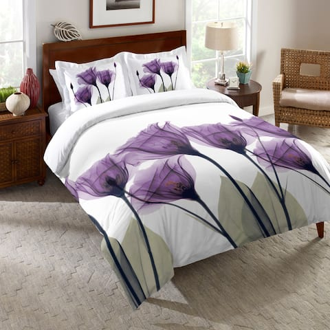 Laural Home Lavender Floral X-Ray Queen Size Comforter (As Is Item)