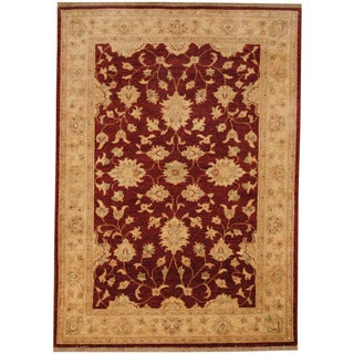 Herat Oriental Afghan Hand-knotted Vegetable Dye Oushak Wool Rug (4'2 x 5'10)
