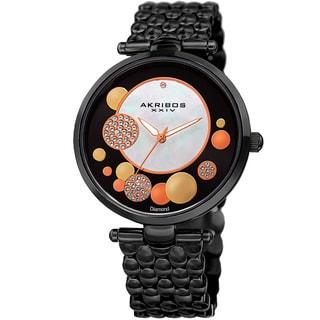 Akribos XXIV Womens Swiss Quartz Diamond Swarovski Crystal Elements Black Bracelet Watch with FREE GIFT