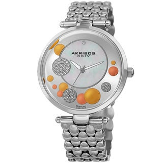 Akribos XXIV Womens Swiss Quartz Diamond Swarovski Crystal Silver-Tone Bracelet Watch