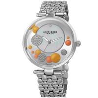 Akribos XXIV Womens Swiss Quartz Diamond Swarovski Crystal Silver-Tone Bracelet Watch