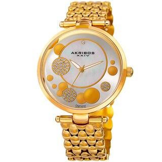 Akribos XXIV Womens Swiss Quartz Diamond Swarovski Crystal Gold-Tone Bracelet Watch