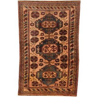 Herat Oriental Semi-Antique 1940's Afghan Hand-knotted Turkoman Wool Rug (3'7 x 5'8)