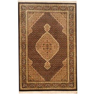 Herat Oriental Indo Hand-knotted Wool & Silk Tabriz Rug (4' x 6')