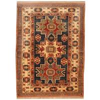 Handmade Herat Oriental Afghan Super Kazak Wool Rug (Afghanistan) - 4'4 x 5'10