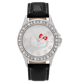 Hello Kitty Silvertone Rhinestone Faux Crocodile Leather Strap Watch