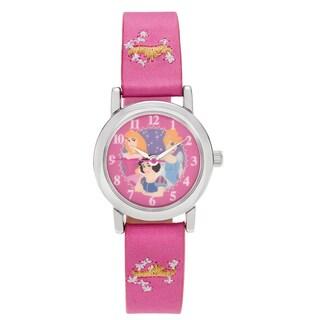 Disney Silvertone Round Face Princess Dial Faux Satin Strap Watch