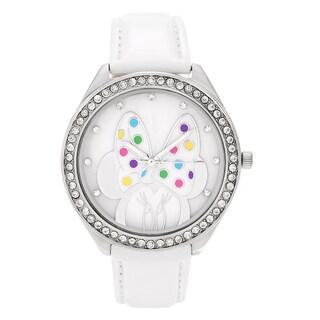 Disney Silvertone Rhinestone Minnie Mouse Dial Leather Strap Watch
