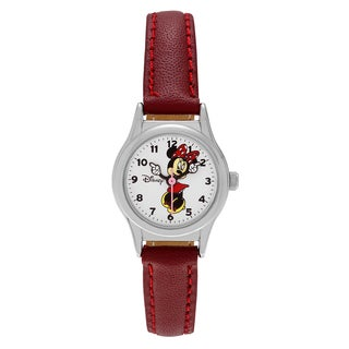 Disney Silvertone Minnie Mouse Dial Faux Leather Strap Watch