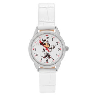 Disney Silvertone Round Face Minnie Mouse Dial Faux Leather Strap Watch