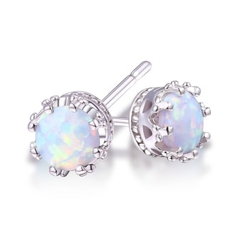 Goldplated 7mm Opal Crown Stud Earrings