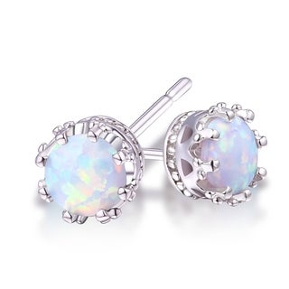 Goldplated 7mm Opal Crown Stud Earrings