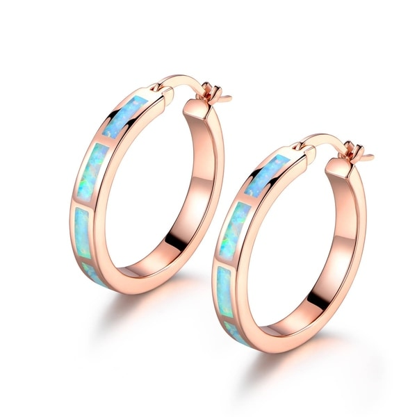 Rose Goldplated Created Opal Hoop Earrings