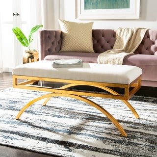 Safavieh Modern Glam Moon Arc Light Beige/Gold Bench