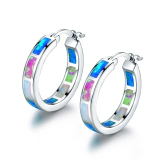 18k White Goldplated Blue and Pink Opal Hoop Earrings