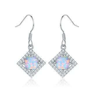 Peermont Jewelry 18k White Goldplated Fire Opal Hanging Drop Earrings