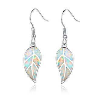 Brass Fire Opal Leaf Drop Earrings