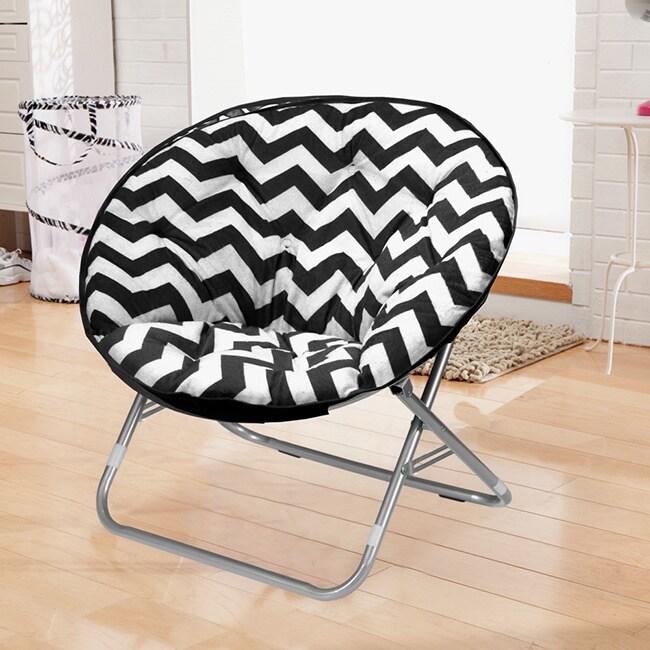 Idea Nuova Black and White Chevron Saucer Papasan Chair (...