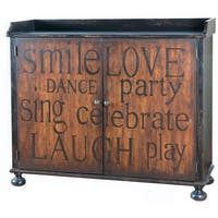 Hand Painted Distressed Black/Brown Finish Wine Cabinet Chest